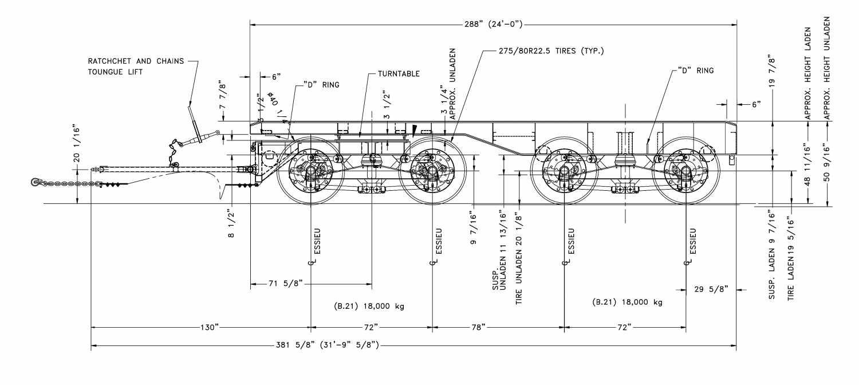 Dolly wagon trailer - 24', 4 axles