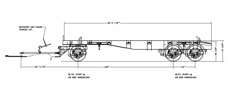 Dolly wagon trailer - 30', 3 axles