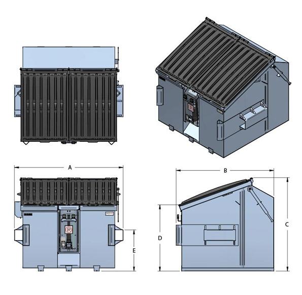 CFL-Contenant à angle avec verseur pour bacs roulants 360L